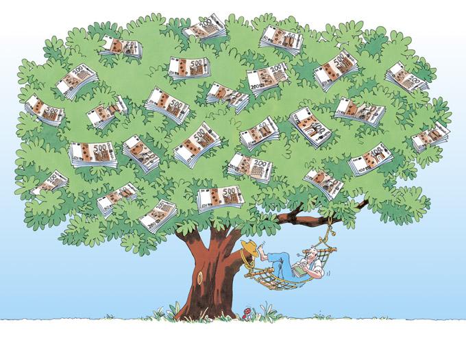 Geldbaum Wachstum bildet Kapital